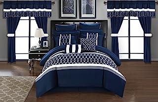 Chic Home Dinah 24 Piece Comforter Set, Queen, Blue