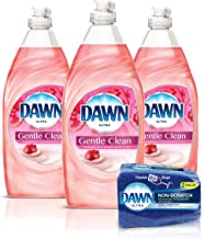 Dawn Gentle Clean Liquid Dish Soap (3 Count) + Non-Scratch Sponge (2 Count), Pomegranate & Rose Water, 1 Set