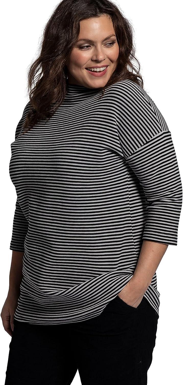 Ulla Popken Womenswear Plus Size Curvy Oversize Eco Cotton Textured Stripe Stretch Sweatshirt 751279