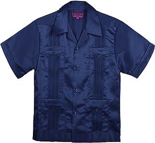 8ee119f7a38 Kids Boys  Guayabera Satin Short Sleeve Shirt(10 Colors