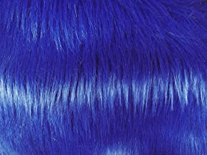 Solid Shaggy Faux/Fake Fur Fabric-Royal Blue-Long Pile 60