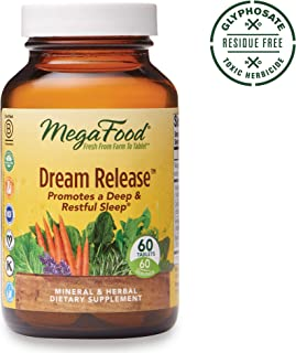 MegaFood, Dream Release, Promotes a Restful Sleep and Relaxation, Sleep Aid Herb and Mineral Supplement, Gluten Free, Vegan, 60 Tablets (60 Servings) (FFP)