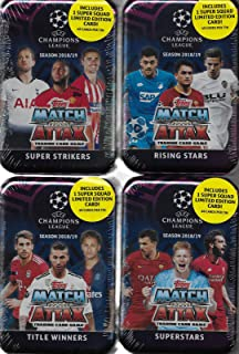 2018 2019 Topps 4 Tin Gift Lot of UEFA Champions League Match Attax Card Game MEGA Collector Tins with 240 Cards including 4 Limited Edition SUPER SQUAD Cards and 60 Exclusive Inserts