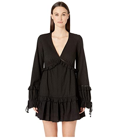 Jonathan Simkhai Embroidered Ruffle Long Sleeve Dress (Black) Women