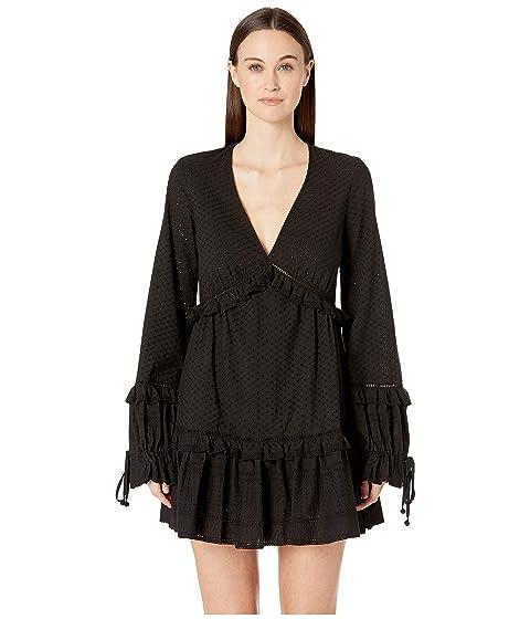Jonathan Simkhai Embroidered Ruffle Long Sleeve Dress