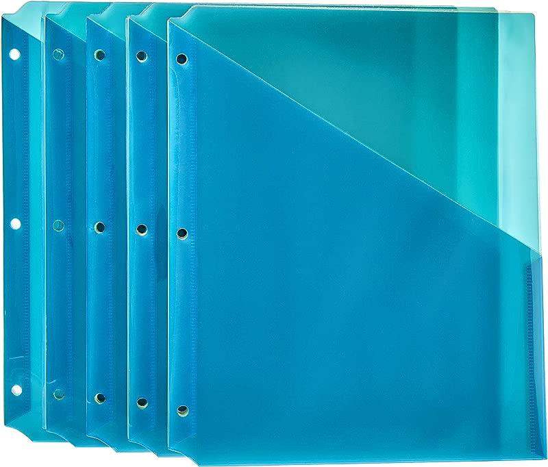 AmazonBasics Binder Organizer Poly Jacket 3 Hole Punch Assorted Colors Pack Of 25