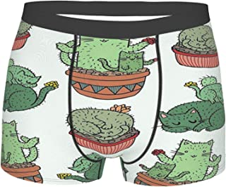 Cactus Cats Funny Men's Boxer Briefs Soft Breathable Stretch Underwear Novelty Underpants