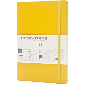 UBERWORKS Tehnik Classic Hardcover Dotted Notebook | Stay Organized | Premium Writing All Purpose Journal, Notebook, Planner, Organizer | 192 A5 Dot-grid Pages with Back Folder, Labels | Yellow