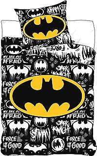 BrandMac Batman - Juego de cama (funda nórdica de 140 x 200 cm y funda de almohada de algodón), diseño de Batman