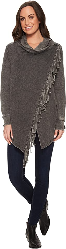 Wrangler - Long Sleeve Fleece Top with Fringe Acid Wash