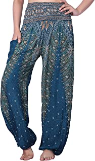 e07f9f97e57df3 CHRLEISURE Women's Boho Yoga Harem Pants Hippie Indian Gypsy Loose Peacock  Print Beach Pants