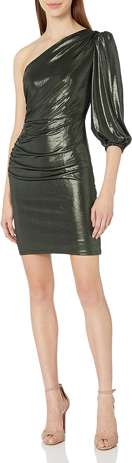 Donna Morgan Women's One Should Stretch Foil Knit Ruched Dress