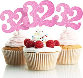LINGPAR 32 Years Old Pink Cake Toppers Happy 32nd Birthday Cupcake Toppers Thirty-Two Birthday Party Decoration Supplies 2...