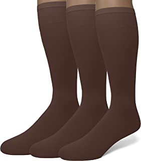 EMEM Apparel Women's Opaque Stretchy Nylon Knee High Trouser Socks, 3-Pairs