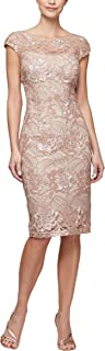 Women's Shift Midi Lace Embroidered Dress