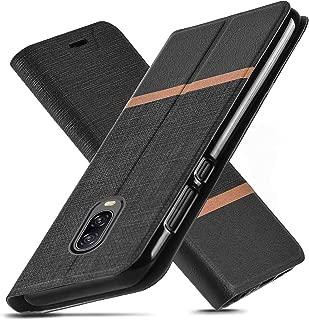OnePlus 6T Case,Ultra Slim fit,Kickstand,Card Slot,TPU Bumper,Anti-Scratch,Flip Leather PU Wallet Cover for OnePlus 6T (Black)