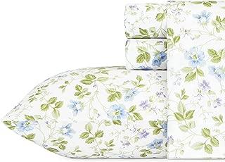 Laura Ashley Spring Bloom Wildflower Sheet Set, Queen, Blue, 4 Piece