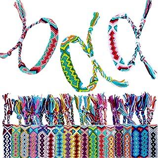 Elcoho 18 Pack Friendship Bracelets Nepal Woven Bracelets Handmade Braided Bracelets with a Sliding Knot Closure Woven Bracelets Wrist Anklet