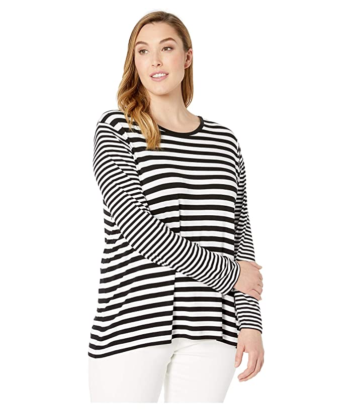 MICHAEL Michael Kors Plus Size Cranberry Yard Stripe Long Sleeve Tee (Black/White) Women