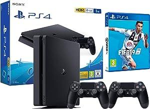 PS4 Slim 1Tb Negra Playstation 4 Consola + 2 Mandos