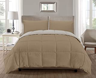 kensie Jackson Solid Reversible Comforter Set, Full, Khaki-Off-White