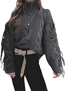 Sollinarry Women's Turtleneck Tassel Long Sleeve Loose Cable Knit Sweater Pullover