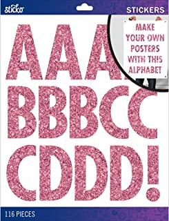 Sticko Alphabet Stickers, Regular X-Large, Pink Glitter Futura