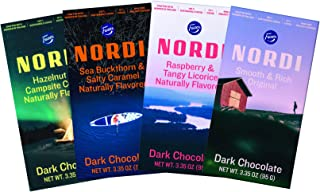 Nordi by Fazer Naturally Flavored Dark Chocolate Bars, Variety Pack, 3.35 oz bar, 4 Count, Crafted in Finland, 100% Sustainable Cocoa, 70% Cocoa, Non-GMO Project Verified
