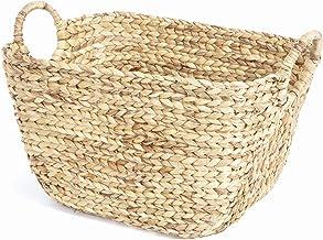Kompaktowy ręcznie tkany kosz do przechowywania hiacyntu wodnego, pleciony w skalę, z uchwytami, jasne drewno, 57 x 33 x w...