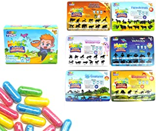 GosuToys Magic Grow Capsules Creatures - 6 Theme Packs with 12 Capsules Each - Farm, Sea, Unicorns, Dinosaurs, Safari, Veh...