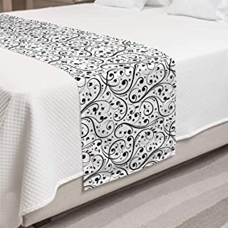 Lunarable Black and White Bed Runner, Flower Swirls and Curves with Dots Monochrome Victorian Inspirations, Decorative Accent Bedding Scarf for Hotels Homes and Guestrooms, King, White Black