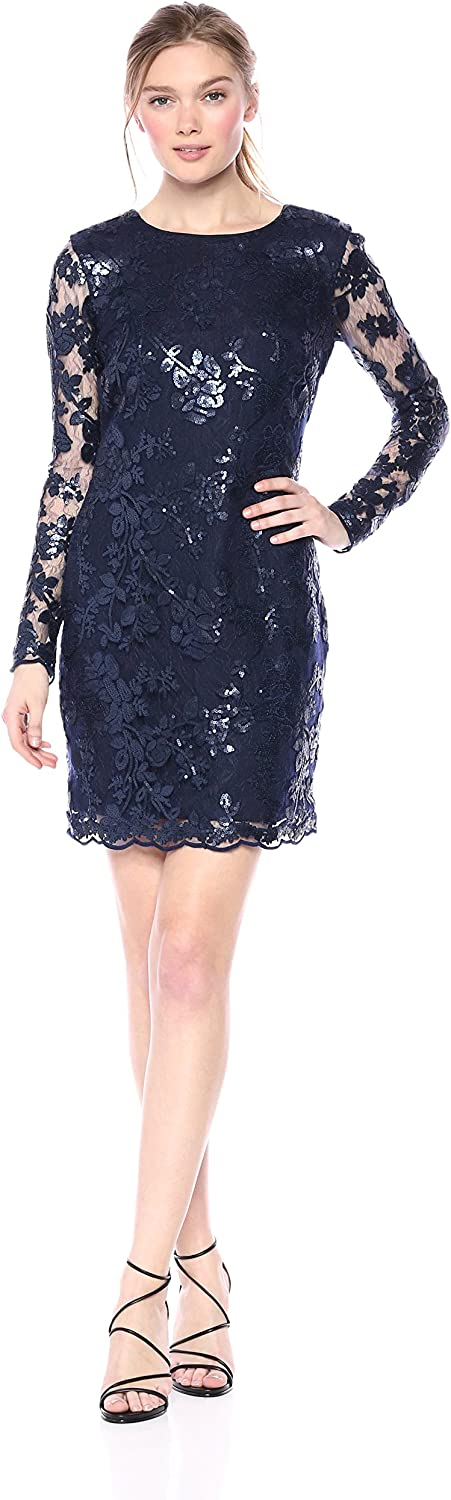 Dress the Population Womens Grace Long Sleeve Sequin Lace Mini Dress