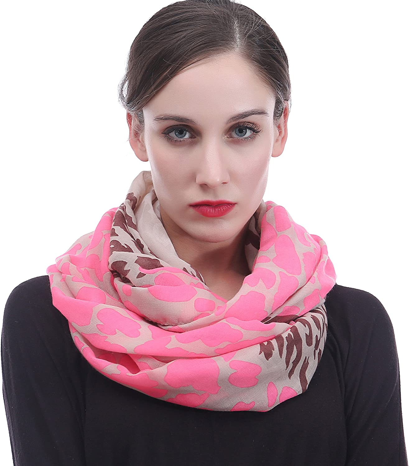 Lina & Lily Neon Leopard Print Infinity Loop Scarf for Women Lightweight