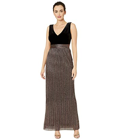 Vince Camuto Sleeveless V-Neck Gown (Black/Gold Multi) Women