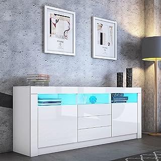 Senvoziii LED Buffet Armoire de Rangement Brillante Armoire 2 Portes 3 tiroirs avec boîtier Ouvert Meuble TV en Bois pour ...