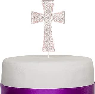 Cross Cake Topper, First Communion, Religious Baptism, Christening, Child Dedication Keepsake Decoration (Rose Gold)