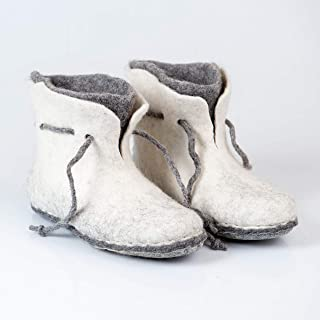 BureBure Warm 2 layered Wool Ankle Boots Slippers for Women Handmade in Europe
