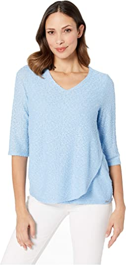 Textured Solid V-Neck 3 4 Sleeve Top with Overlapping Front Detail d71513d2b7f40