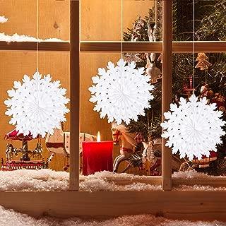 TUPARKA 8Pcs White Paper Christmas Snowflake Decorations Paper Snowflakes Hanging Decoration Frozen Winter Wonderland Party Decorations Winter Wedding Decorations 35cm/14inch