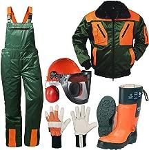 5er Schnittschutz Set Schnittschutzhose Jacke Lederstiefel Oregon Forsthelm