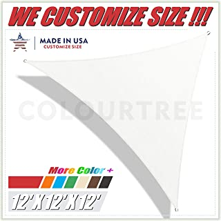 ColourTree 12' x 12' x 12' White Triangle Sun Shade Sail Canopy – UV Resistant Heavy Duty Commercial Grade -We Make Custom Size