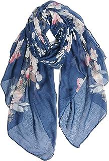 Femme Femmes Bleu Sarcelle Floral Foulard Long Fleur Rose Imprimé Motif Châle Coton S//S