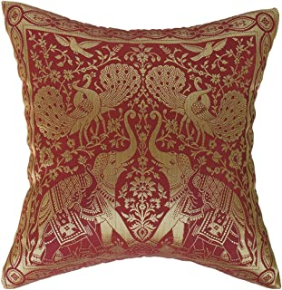 Artiwa Traditional Indian Elephants Embroidered Maroon and Gold Silk Throw Decorative Pillow Cover 16