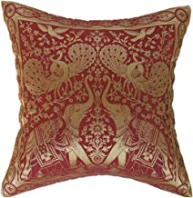 Artiwa Traditional Indian Elephants Embroidered Maroon and Gold Silk Throw Decorative Pillow Cover 16x 16