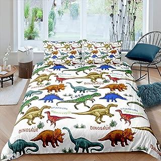 Feelyou Kids Dinosaur Bedding Set Queen Size Cartoon Dino Print Duvet Cover for Son Boys Bedroom Decor Jungle Animals Patt...