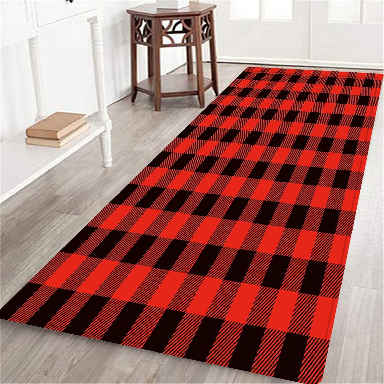 MATEKULI Max 82% OFF Long Floor Mat Lumberjack Style Buffalo San Diego Mall Checks Fashion