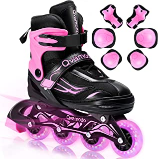 Qvamodo Pink Adjustable Inline Skates for Girls Women with Fun Lighting Wheels& Protective Gears, Safe Roller Skates for B...