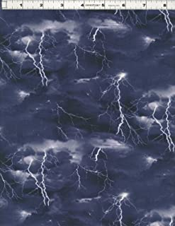 Cotton Landscape Medley Thunder Storm Lightning Bolts Storm Chasers Clouds Black Cotton Fabric Print by the Yard (469-black)