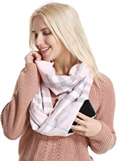 Hidden Pocket Classic Plaid Infinity Scarf for Winter,Cashmere Feeling, Elegant Patten, Wool Soft