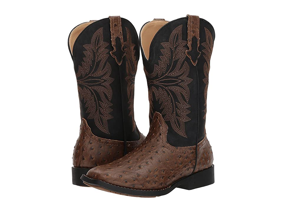 Roper Kids Jed (Big Kid) (Brown Faux Ostrich Vamp Black Shaft) Cowboy Boots